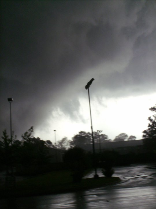 My view of the mile wide tornado after glancing out back of the service door of Starbucks.